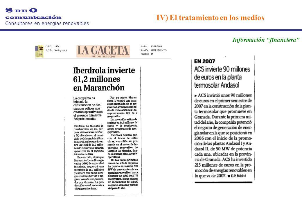 Información financiera S D E O comunicación Consultores en energías renovables IV) El tratamiento en los medios