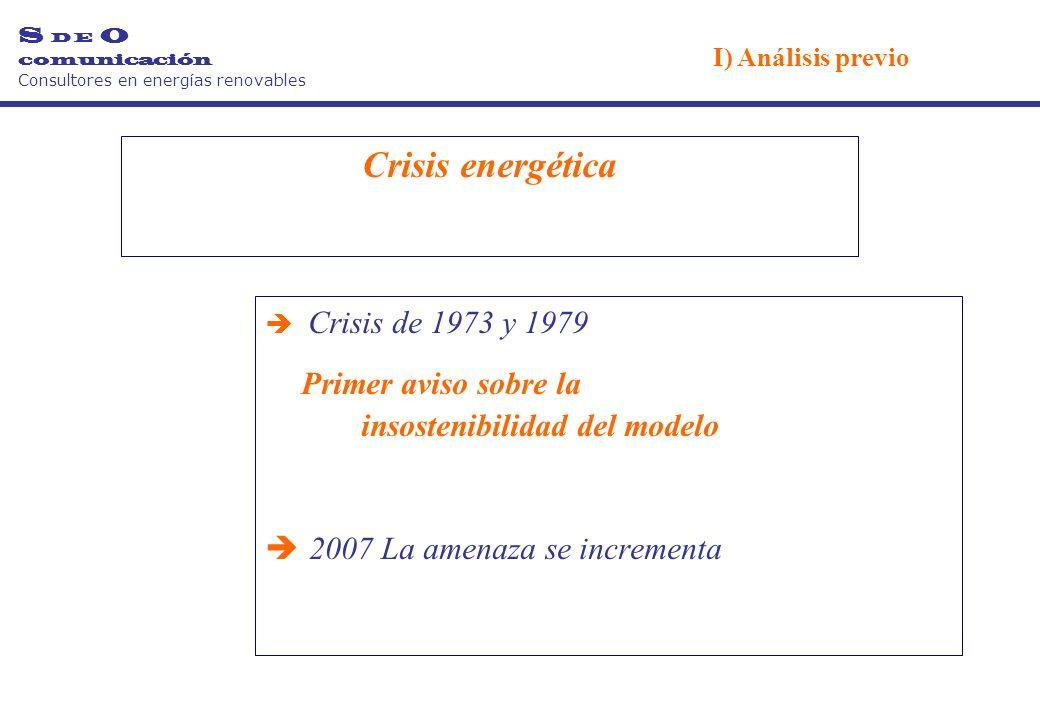Crisis energética è Crisis de 1973 y 1979 Primer aviso sobre la insostenibilidad del modelo è 2007 La amenaza se incrementa S D E O comunicación Consultores en energías renovables I) Análisis previo