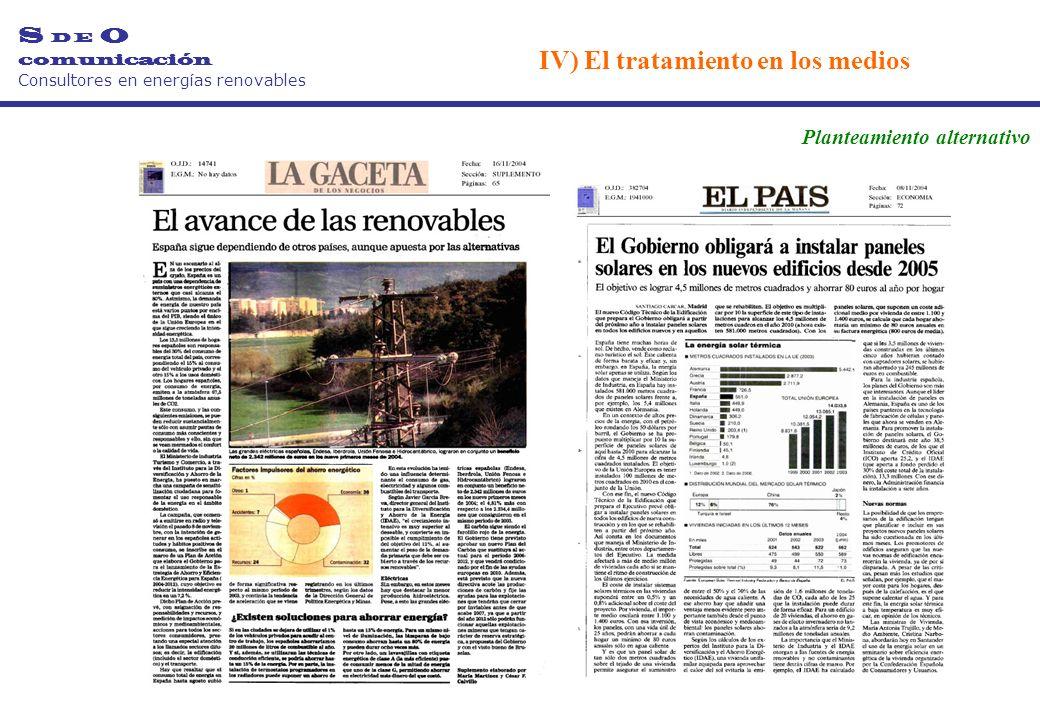 S D E O comunicación Consultores en energías renovables Planteamiento alternativo IV) El tratamiento en los medios