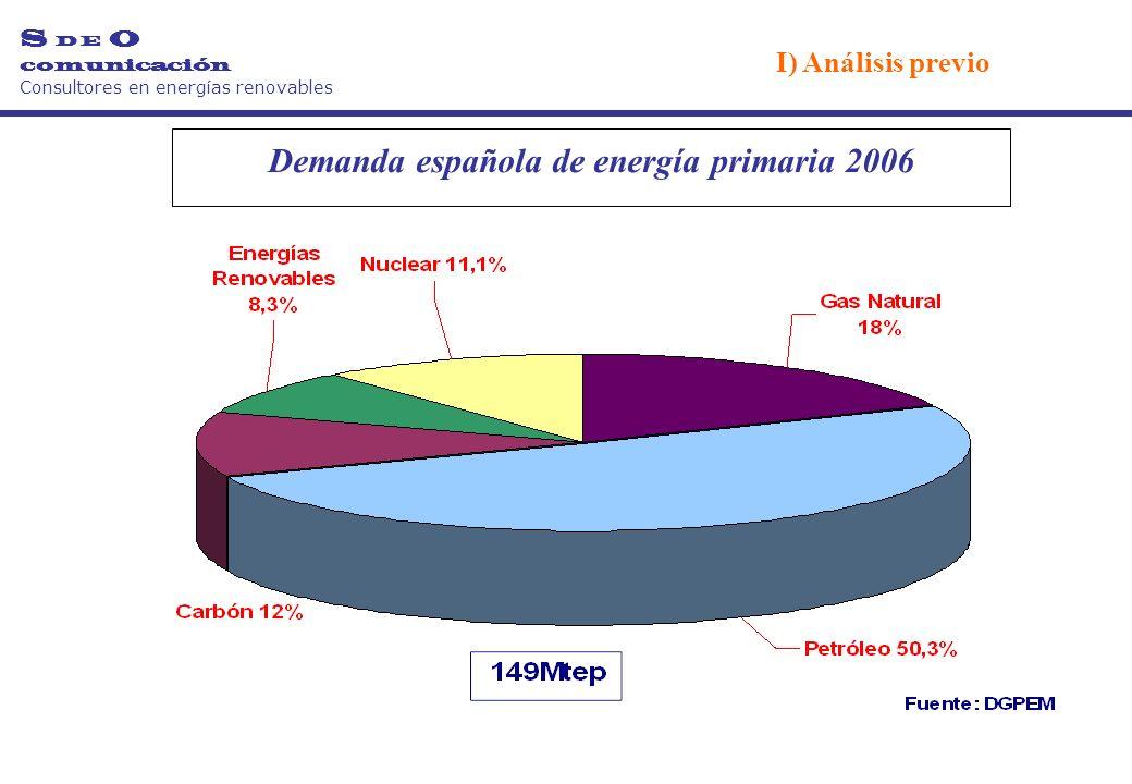 Demanda española de energía primaria 2006 S D E O comunicación Consultores en energías renovables I) Análisis previo