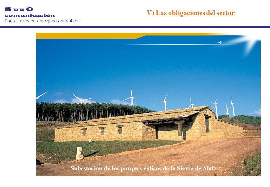 Subestación de los parques eólicos de la Sierra de Alaiz S D E O comunicación Consultores en energías renovables V) Las obligaciones del sector