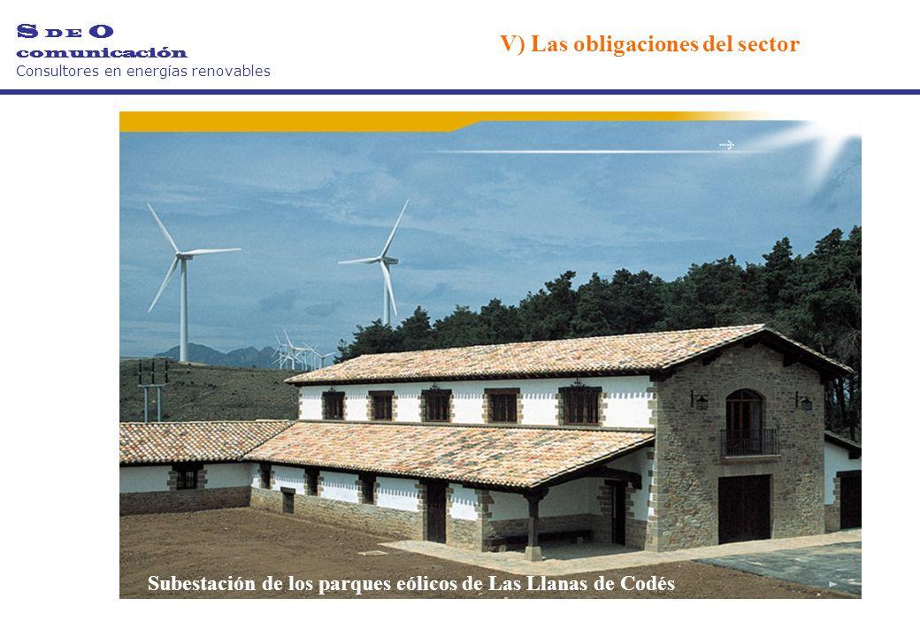 Subestación de los parques eólicos de Las Llanas de Codés S D E O comunicación Consultores en energías renovables V) Las obligaciones del sector