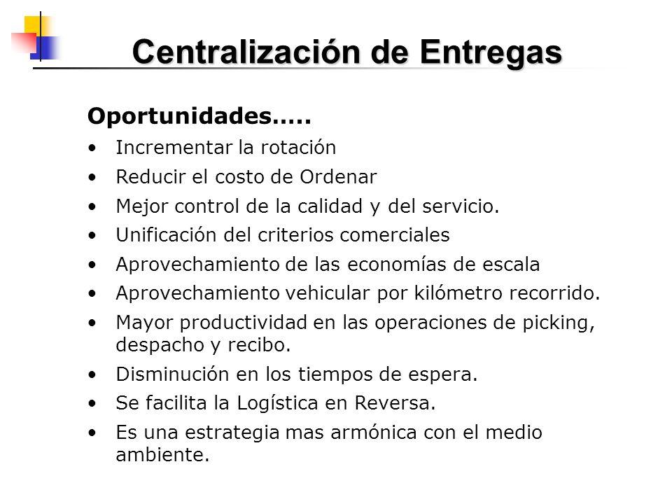 Oportunidades….. Incrementar la rotación Reducir el costo de Ordenar Mejor control de la calidad y del servicio. Unificación del criterios comerciales