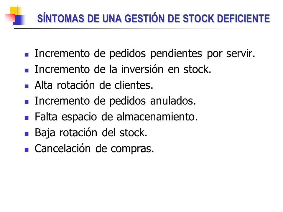SÍNTOMAS DE UNA GESTIÓN DE STOCK DEFICIENTE Incremento de pedidos pendientes por servir. Incremento de la inversión en stock. Alta rotación de cliente