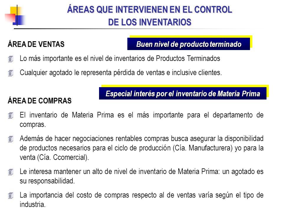 ÁREAS QUE INTERVIENEN EN EL CONTROL DE LOS INVENTARIOS ÁREA DE VENTAS Lo más importante es el nivel de inventarios de Productos Terminados Cualquier a
