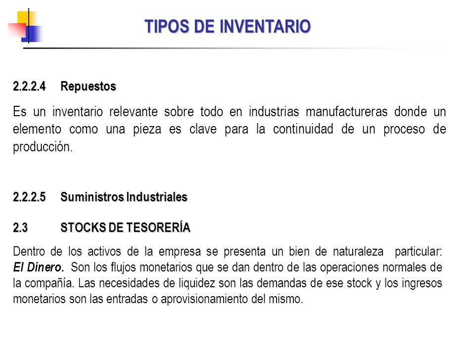 TIPOS DE INVENTARIO 2.3 STOCKS DE TESORERÍA Dentro de los activos de la empresa se presenta un bien de naturaleza particular: El Dinero. Son los flujo