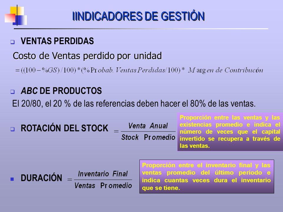 IINDICADORES DE GESTIÓN VENTAS PERDIDAS ABC DE PRODUCTOS El 20/80, el 20 % de las referencias deben hacer el 80% de las ventas. ROTACIÓN DEL STOCK DUR