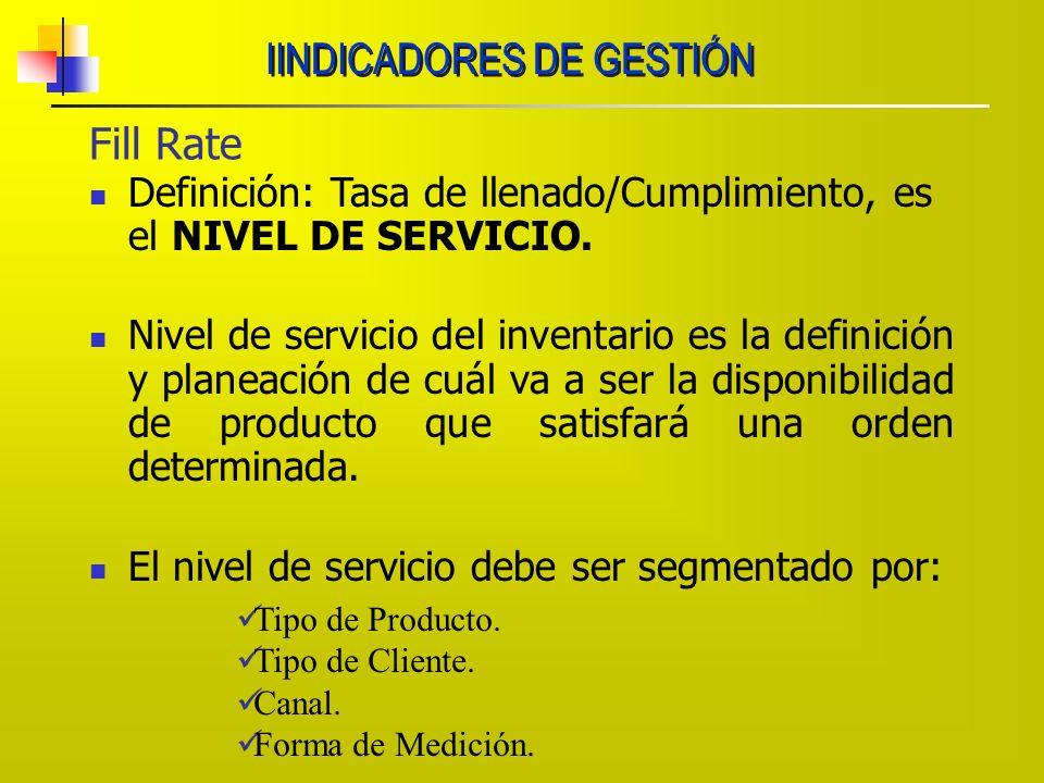 Fill Rate Definición: Tasa de llenado/Cumplimiento, es el NIVEL DE SERVICIO. Nivel de servicio del inventario es la definición y planeación de cuál va