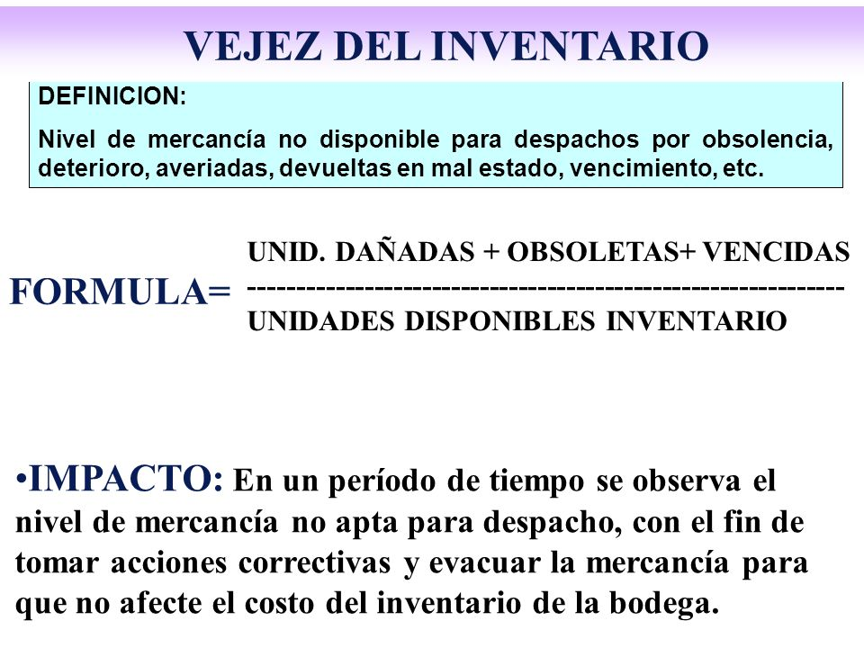 DEFINICION: Nivel de mercancía no disponible para despachos por obsolencia, deterioro, averiadas, devueltas en mal estado, vencimiento, etc. FORMULA=