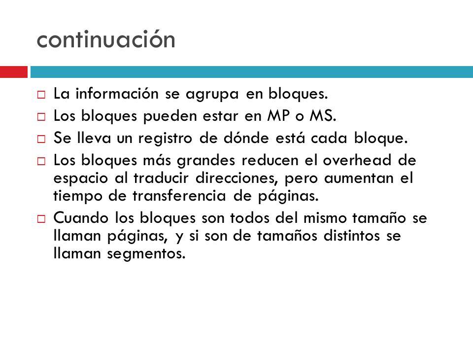 continuación La información se agrupa en bloques. Los bloques pueden estar en MP o MS. Se lleva un registro de dónde está cada bloque. Los bloques más
