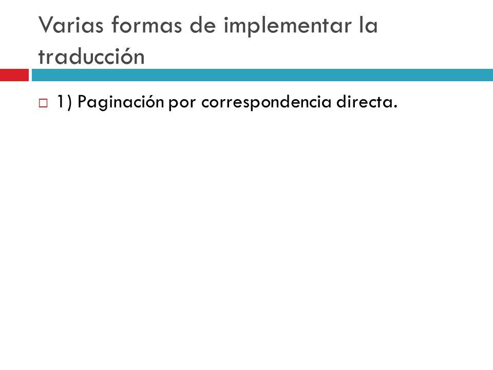 Varias formas de implementar la traducción 1) Paginación por correspondencia directa.