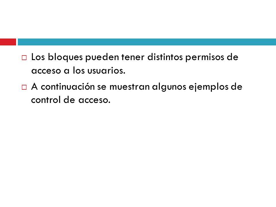 Los bloques pueden tener distintos permisos de acceso a los usuarios. A continuación se muestran algunos ejemplos de control de acceso.