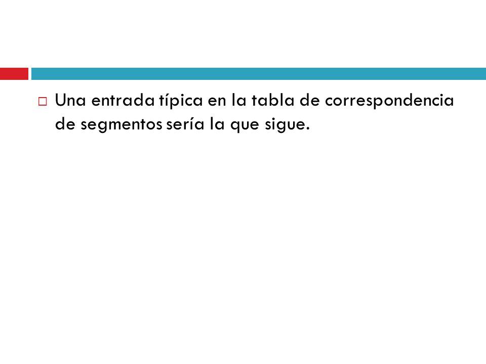 Una entrada típica en la tabla de correspondencia de segmentos sería la que sigue.