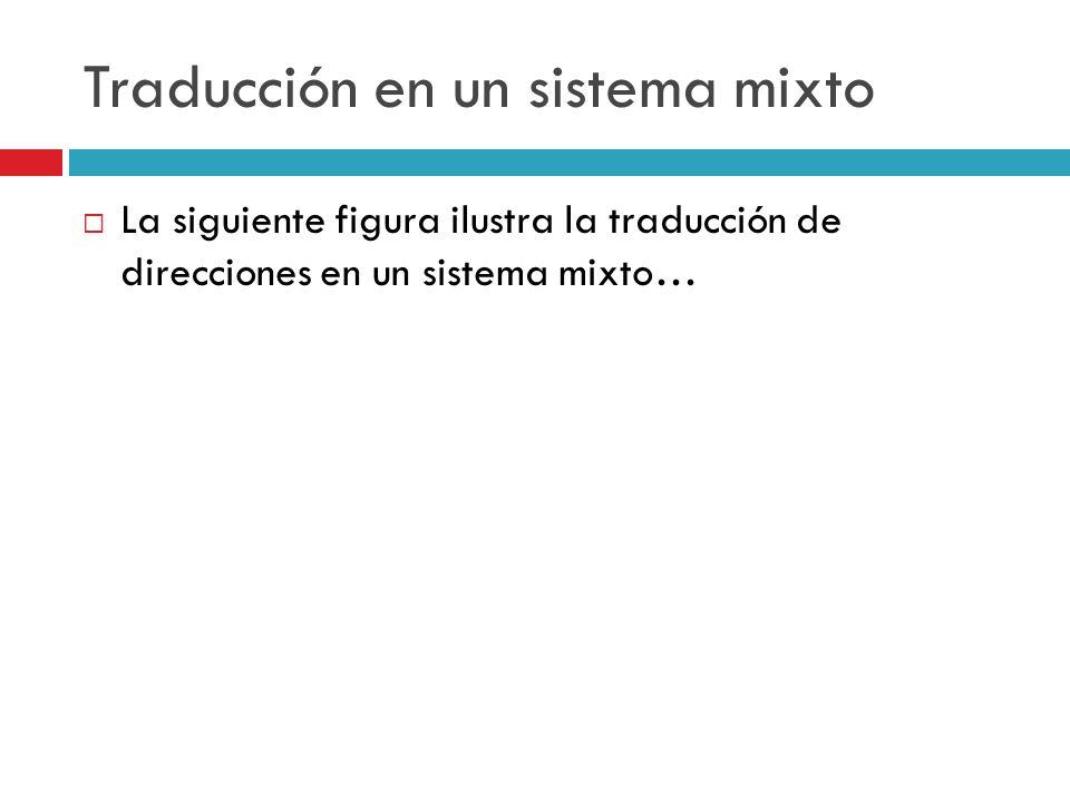 Traducción en un sistema mixto La siguiente figura ilustra la traducción de direcciones en un sistema mixto…