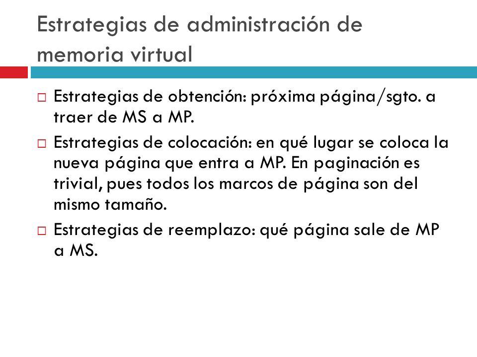 Estrategias de administración de memoria virtual Estrategias de obtención: próxima página/sgto. a traer de MS a MP. Estrategias de colocación: en qué