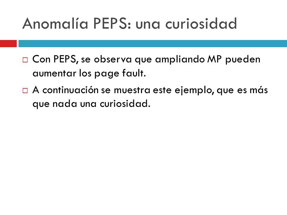 Anomalía PEPS: una curiosidad Con PEPS, se observa que ampliando MP pueden aumentar los page fault. A continuación se muestra este ejemplo, que es más