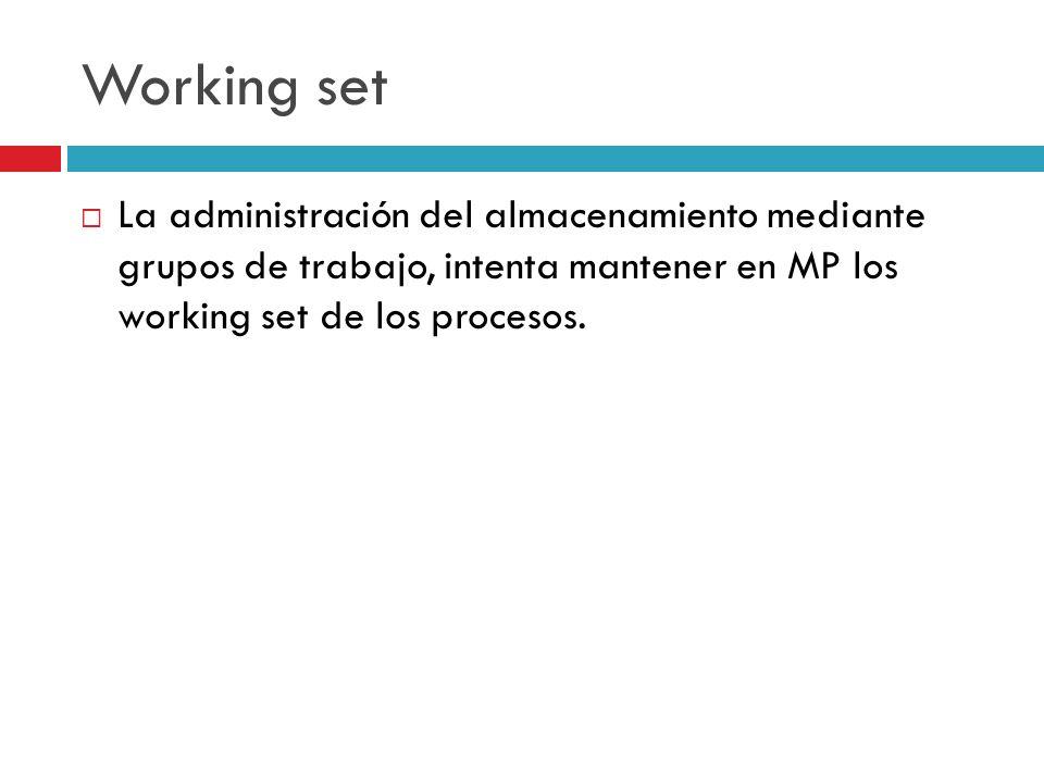 Working set La administración del almacenamiento mediante grupos de trabajo, intenta mantener en MP los working set de los procesos.