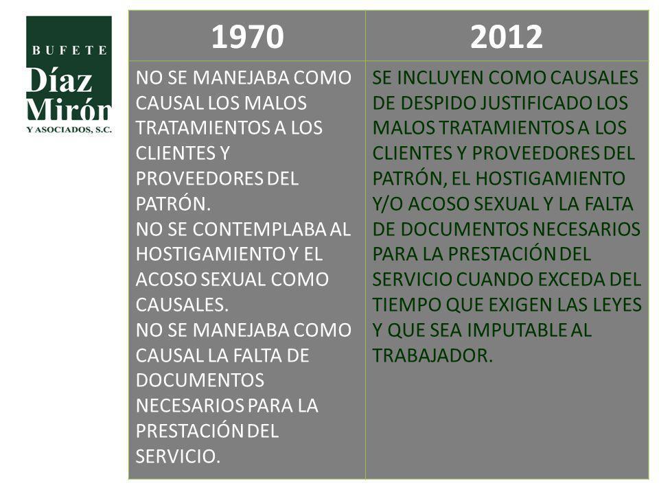 19702012 NO SE MANEJABA COMO CAUSAL LOS MALOS TRATAMIENTOS A LOS CLIENTES Y PROVEEDORES DEL PATRÓN. NO SE CONTEMPLABA AL HOSTIGAMIENTO Y EL ACOSO SEXU
