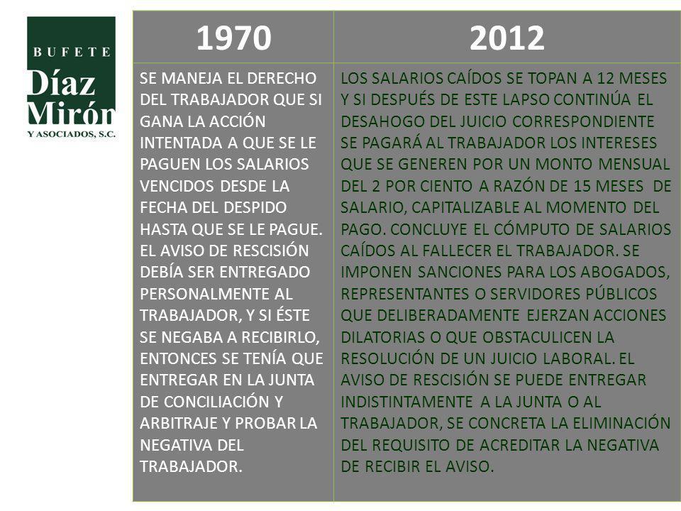 19702012 SE MANEJA EL DERECHO DEL TRABAJADOR QUE SI GANA LA ACCIÓN INTENTADA A QUE SE LE PAGUEN LOS SALARIOS VENCIDOS DESDE LA FECHA DEL DESPIDO HASTA