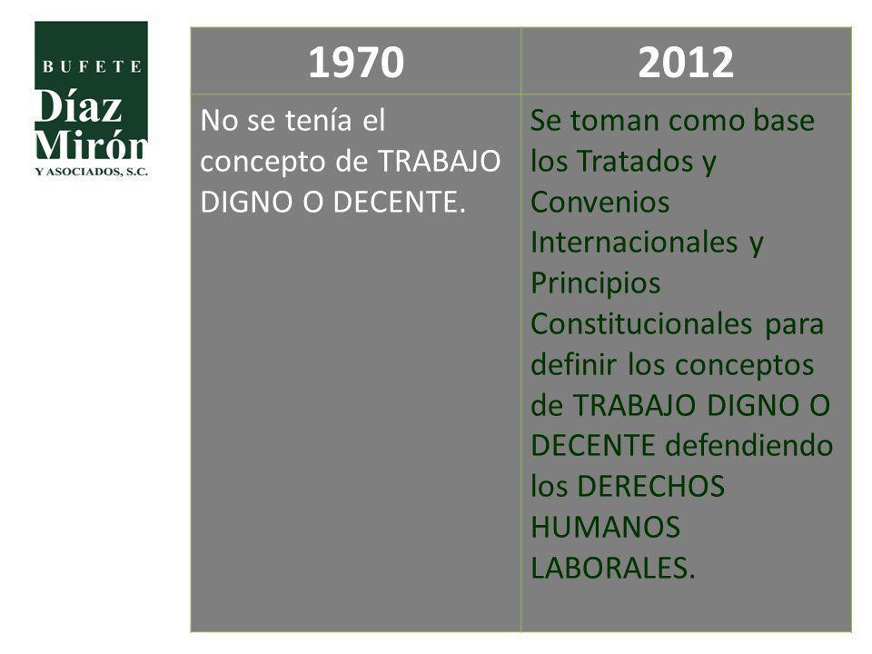 19702012 No se tenía el concepto de TRABAJO DIGNO O DECENTE. Se toman como base los Tratados y Convenios Internacionales y Principios Constitucionales