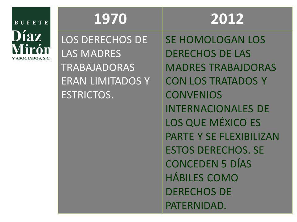 19702012 LOS DERECHOS DE LAS MADRES TRABAJADORAS ERAN LIMITADOS Y ESTRICTOS. SE HOMOLOGAN LOS DERECHOS DE LAS MADRES TRABAJDORAS CON LOS TRATADOS Y CO