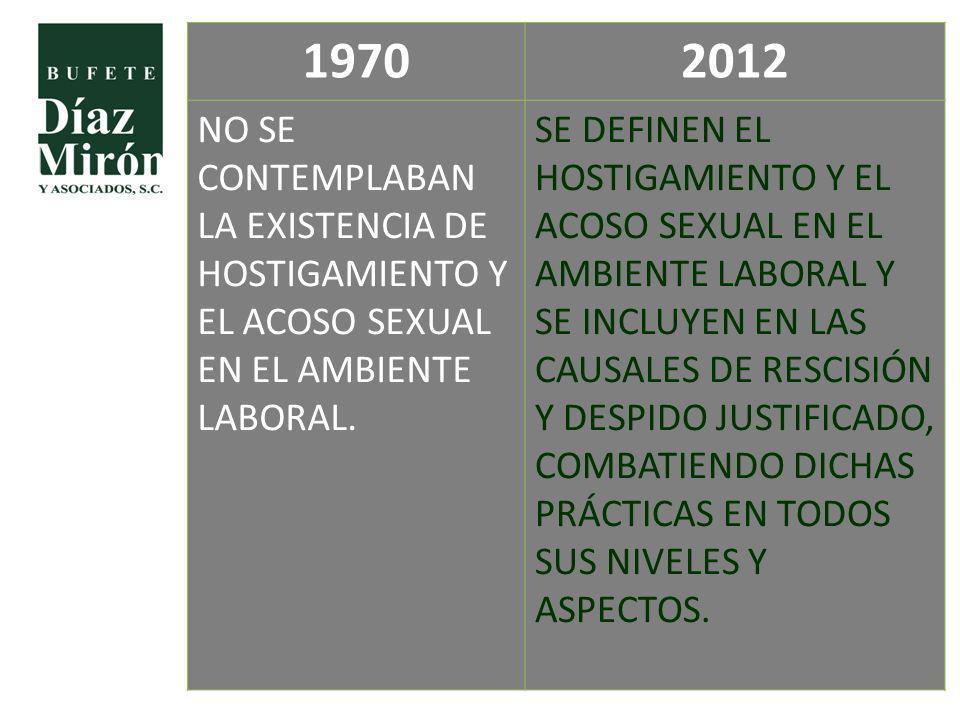 19702012 NO SE CONTEMPLABAN LA EXISTENCIA DE HOSTIGAMIENTO Y EL ACOSO SEXUAL EN EL AMBIENTE LABORAL. SE DEFINEN EL HOSTIGAMIENTO Y EL ACOSO SEXUAL EN