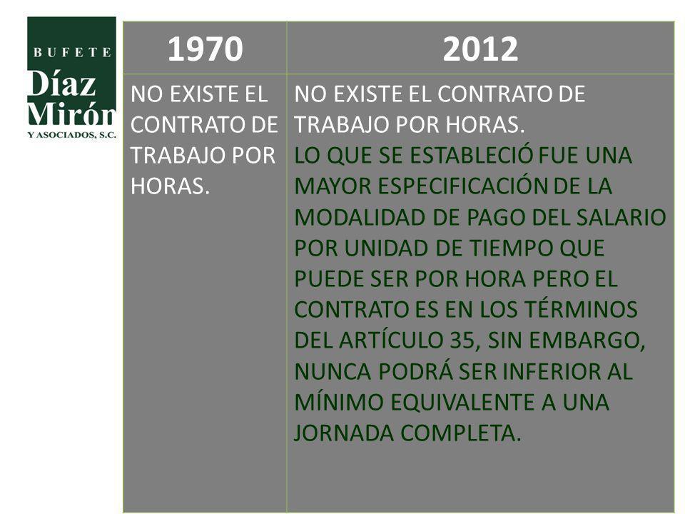 19702012 NO EXISTE EL CONTRATO DE TRABAJO POR HORAS. LO QUE SE ESTABLECIÓ FUE UNA MAYOR ESPECIFICACIÓN DE LA MODALIDAD DE PAGO DEL SALARIO POR UNIDAD