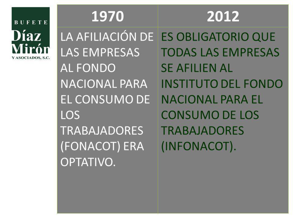 19702012 LA AFILIACIÓN DE LAS EMPRESAS AL FONDO NACIONAL PARA EL CONSUMO DE LOS TRABAJADORES (FONACOT) ERA OPTATIVO. ES OBLIGATORIO QUE TODAS LAS EMPR