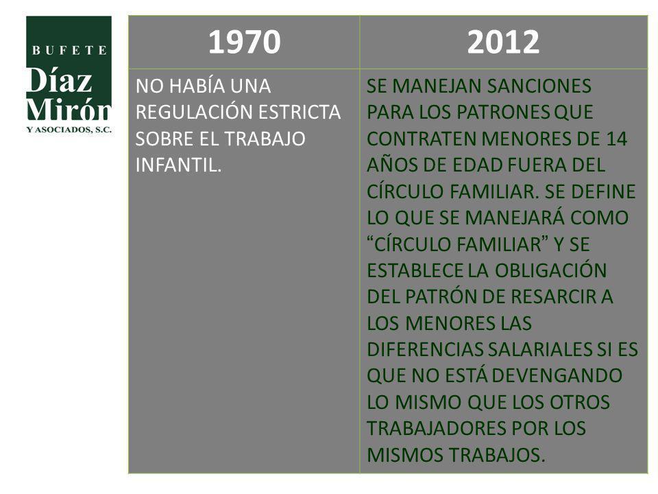 19702012 NO HABÍA UNA REGULACIÓN ESTRICTA SOBRE EL TRABAJO INFANTIL. SE MANEJAN SANCIONES PARA LOS PATRONES QUE CONTRATEN MENORES DE 14 AÑOS DE EDAD F