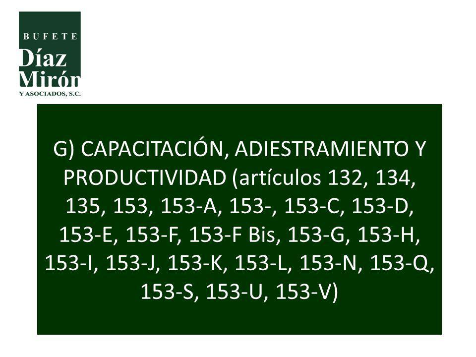 G) CAPACITACIÓN, ADIESTRAMIENTO Y PRODUCTIVIDAD (artículos 132, 134, 135, 153, 153-A, 153-, 153-C, 153-D, 153-E, 153-F, 153-F Bis, 153-G, 153-H, 153-I