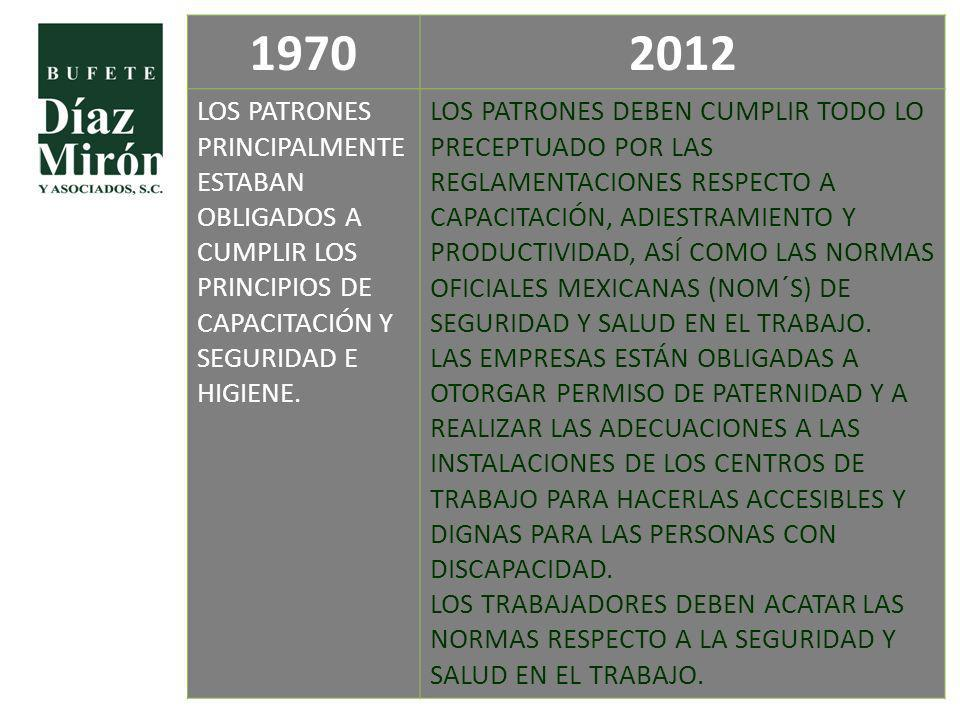 19702012 LOS PATRONES PRINCIPALMENTE ESTABAN OBLIGADOS A CUMPLIR LOS PRINCIPIOS DE CAPACITACIÓN Y SEGURIDAD E HIGIENE. LOS PATRONES DEBEN CUMPLIR TODO