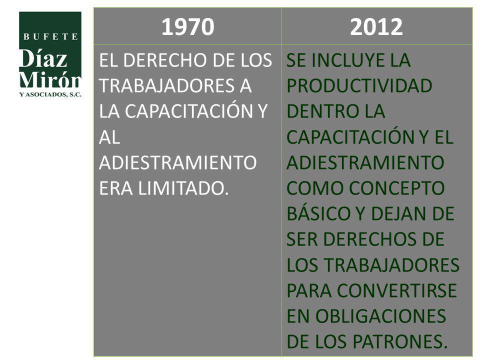 19702012 EL DERECHO DE LOS TRABAJADORES A LA CAPACITACIÓN Y AL ADIESTRAMIENTO ERA LIMITADO. SE INCLUYE LA PRODUCTIVIDAD DENTRO LA CAPACITACIÓN Y EL AD