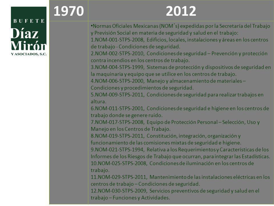 19702012 Normas Oficiales Mexicanas (NOM´s) expedidas por la Secretaría del Trabajo y Previsión Social en materia de seguridad y salud en el trabajo: