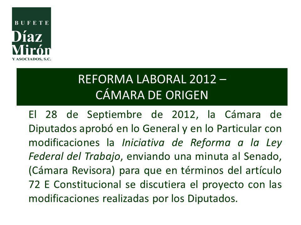 El 28 de Septiembre de 2012, la Cámara de Diputados aprobó en lo General y en lo Particular con modificaciones la Iniciativa de Reforma a la Ley Feder