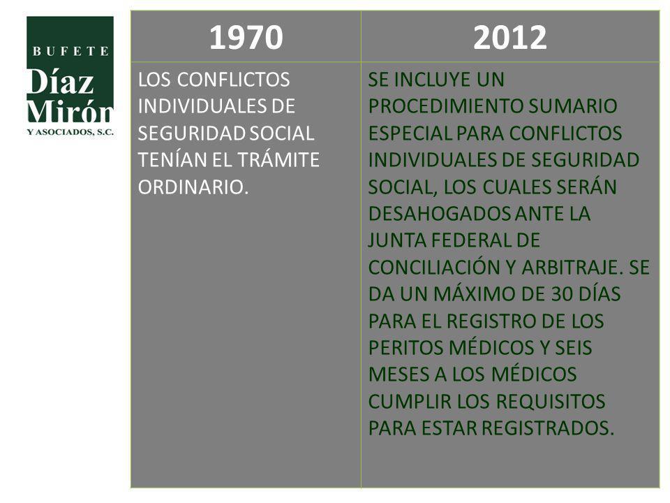 19702012 LOS CONFLICTOS INDIVIDUALES DE SEGURIDAD SOCIAL TENÍAN EL TRÁMITE ORDINARIO. SE INCLUYE UN PROCEDIMIENTO SUMARIO ESPECIAL PARA CONFLICTOS IND