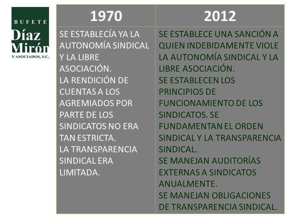 19702012 SE ESTABLECÍA YA LA AUTONOMÍA SINDICAL Y LA LIBRE ASOCIACIÓN. LA RENDICIÓN DE CUENTAS A LOS AGREMIADOS POR PARTE DE LOS SINDICATOS NO ERA TAN