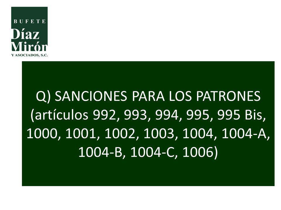 Q) SANCIONES PARA LOS PATRONES (artículos 992, 993, 994, 995, 995 Bis, 1000, 1001, 1002, 1003, 1004, 1004-A, 1004-B, 1004-C, 1006)