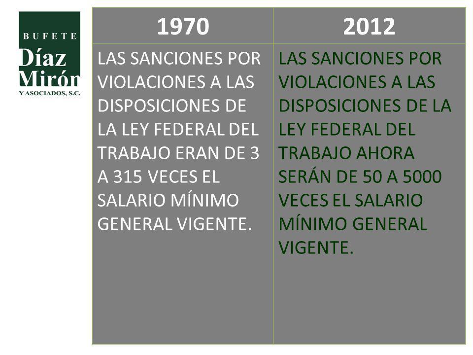 19702012 LAS SANCIONES POR VIOLACIONES A LAS DISPOSICIONES DE LA LEY FEDERAL DEL TRABAJO ERAN DE 3 A 315 VECES EL SALARIO MÍNIMO GENERAL VIGENTE. LAS