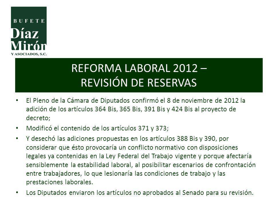 El Pleno de la Cámara de Diputados confirmó el 8 de noviembre de 2012 la adición de los artículos 364 Bis, 365 Bis, 391 Bis y 424 Bis al proyecto de d
