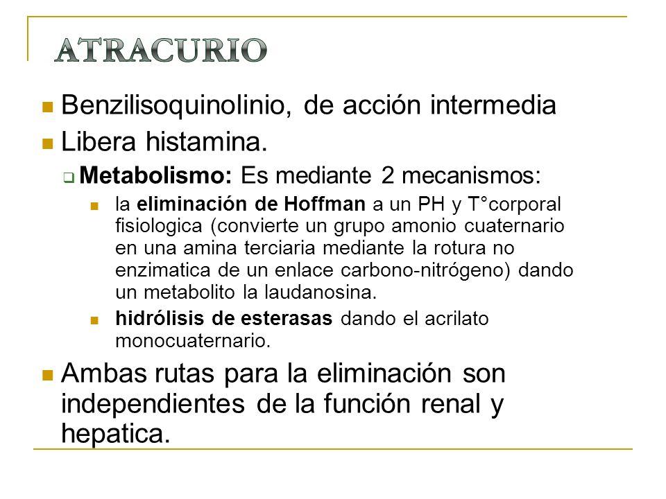 Benzilisoquinolinio, de acción intermedia Libera histamina. Metabolismo: Es mediante 2 mecanismos: la eliminación de Hoffman a un PH y T°corporal fisi