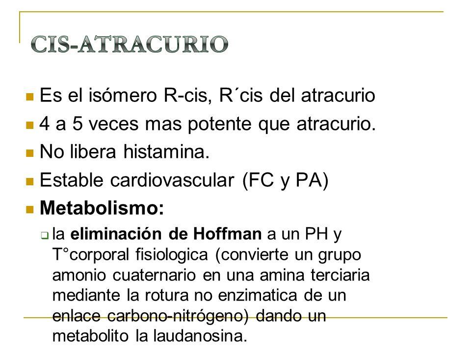 Es el isómero R-cis, R´cis del atracurio 4 a 5 veces mas potente que atracurio. No libera histamina. Estable cardiovascular (FC y PA) Metabolismo: la