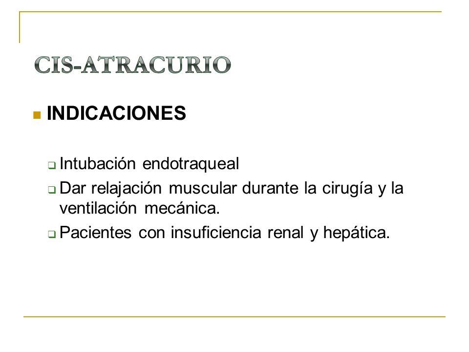 INDICACIONES Intubación endotraqueal Dar relajación muscular durante la cirugía y la ventilación mecánica. Pacientes con insuficiencia renal y hepátic