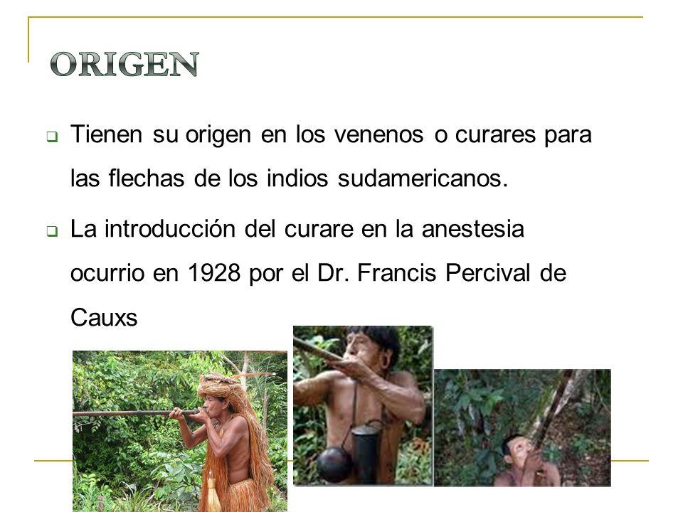Tienen su origen en los venenos o curares para las flechas de los indios sudamericanos. La introducción del curare en la anestesia ocurrio en 1928 por