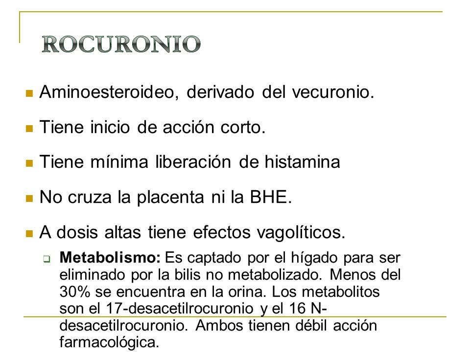 Aminoesteroideo, derivado del vecuronio. Tiene inicio de acción corto. Tiene mínima liberación de histamina No cruza la placenta ni la BHE. A dosis al
