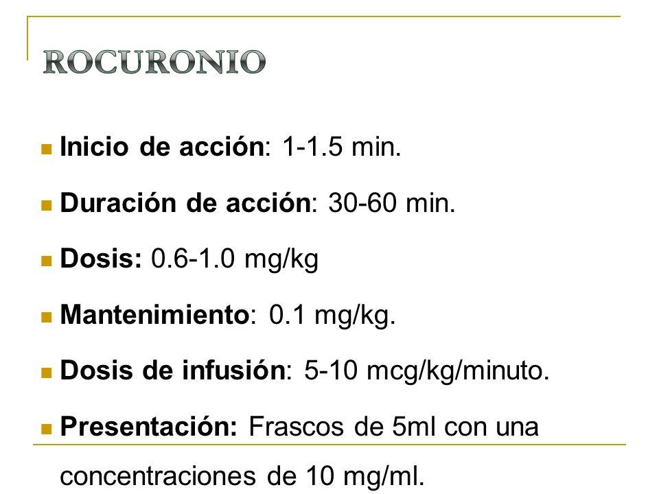 Inicio de acción: 1-1.5 min. Duración de acción: 30-60 min. Dosis: 0.6-1.0 mg/kg Mantenimiento: 0.1 mg/kg. Dosis de infusión: 5-10 mcg/kg/minuto. Pres