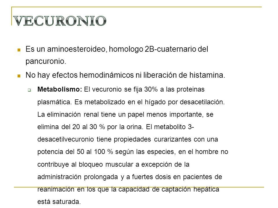Es un aminoesteroideo, homologo 2B-cuaternario del pancuronio. No hay efectos hemodinámicos ni liberación de histamina. Metabolismo: El vecuronio se f
