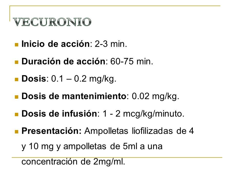 Inicio de acción: 2-3 min. Duración de acción: 60-75 min. Dosis: 0.1 – 0.2 mg/kg. Dosis de mantenimiento: 0.02 mg/kg. Dosis de infusión: 1 - 2 mcg/kg/