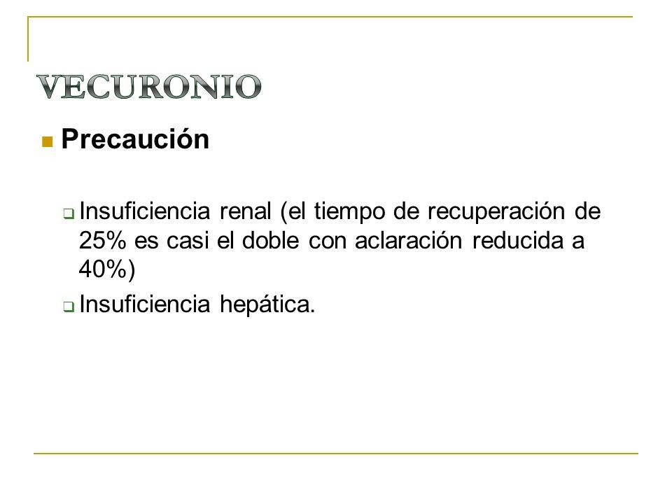Precaución Insuficiencia renal (el tiempo de recuperación de 25% es casi el doble con aclaración reducida a 40%) Insuficiencia hepática.