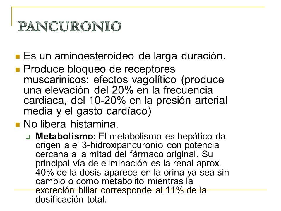 Es un aminoesteroideo de larga duración. Produce bloqueo de receptores muscarinicos: efectos vagolítico (produce una elevación del 20% en la frecuenci