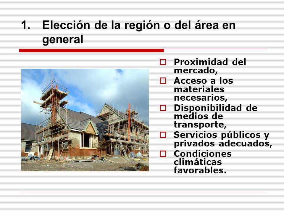 1.Elección de la región o del área en general Proximidad del mercado, Acceso a los materiales necesarios, Disponibilidad de medios de transporte, Serv